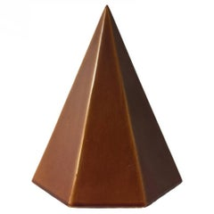 1960s Modernist Ceramic Pyramid with Auburn Glaze