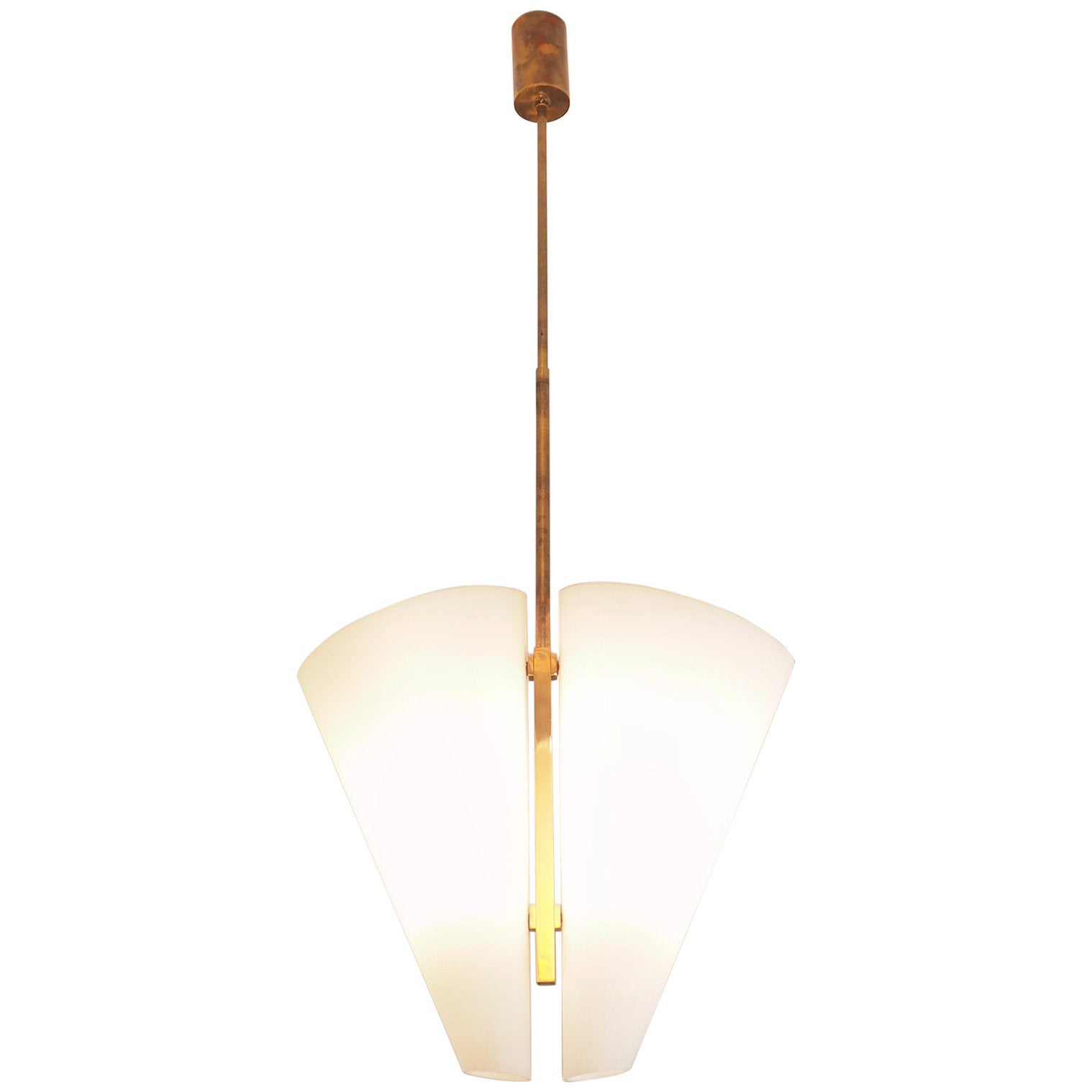 Max Ingrand Midcentury Brass and Glass Chandelier for Fontana Arte ...