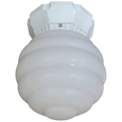 French 1950s Ceiling Light with Porcelain Base and Milk Glass Shade