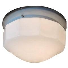 French 1950s Ceiling Light with Milk Glass Cover and Porcelain Base