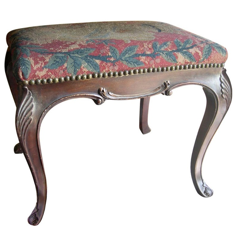 English 19th Century Stained Walnut Carved Needlepoint Bench