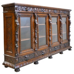 French Renaissance-Style Bookcase in Walnut with Original Glass, circa 1900