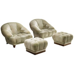 Velvet Lounge Chairs with Ottomans