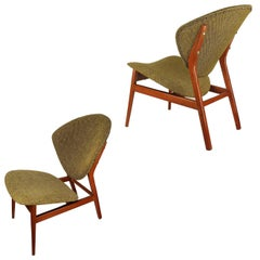 Pair Sculptural Lounge Chairs, 1950s Gio Ponti Style