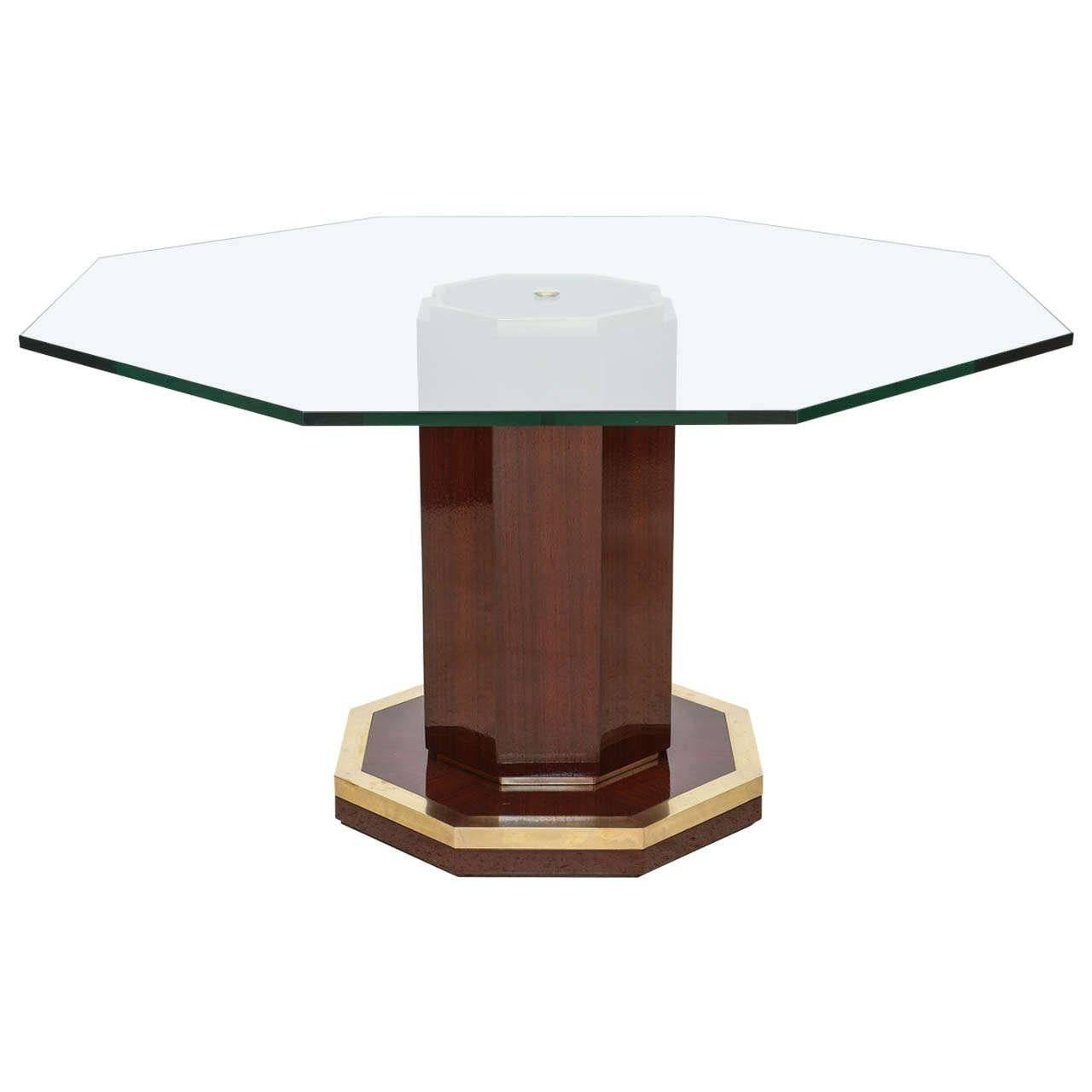 French Modern Mahogany, Bronze And Glass Center Table, Attributed To J.  Quinet 1