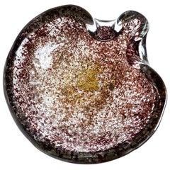 Ercole Barovier Toso Murano Gold Flecks Relievi Aurati Italian Art Glass Bowl