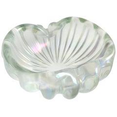Barovier Toso Murano Clear Iridescent Italian Art Glass Chunky Bowl