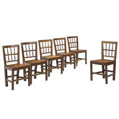Set of Six George III Period Oak Chairs