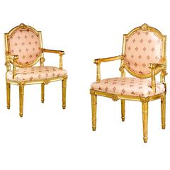 Pair of Italian 19th Century Elbow Chairs