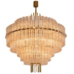 Pair of Large Circular Chandelier in Brass and Structured Glass