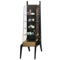 Contemporary Cabinet with Mirrored Shelves, Perforated Brass and Glass Sides
