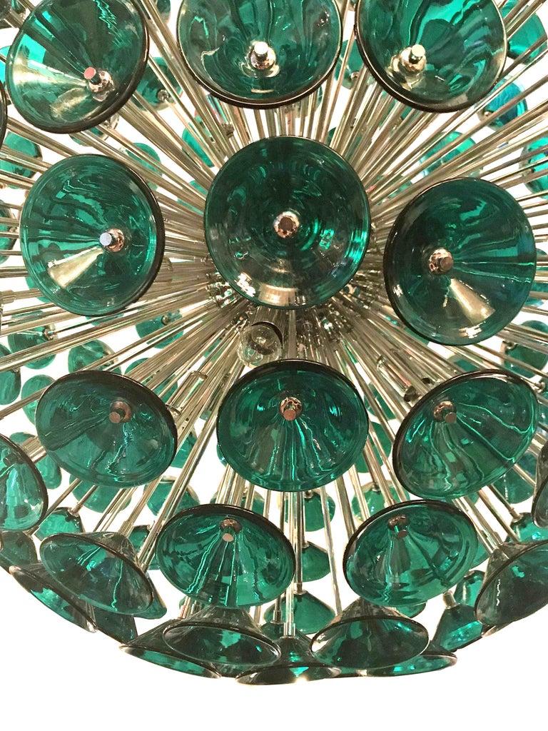 Plated Italian Green Murano Trumpets Sputnik For Sale