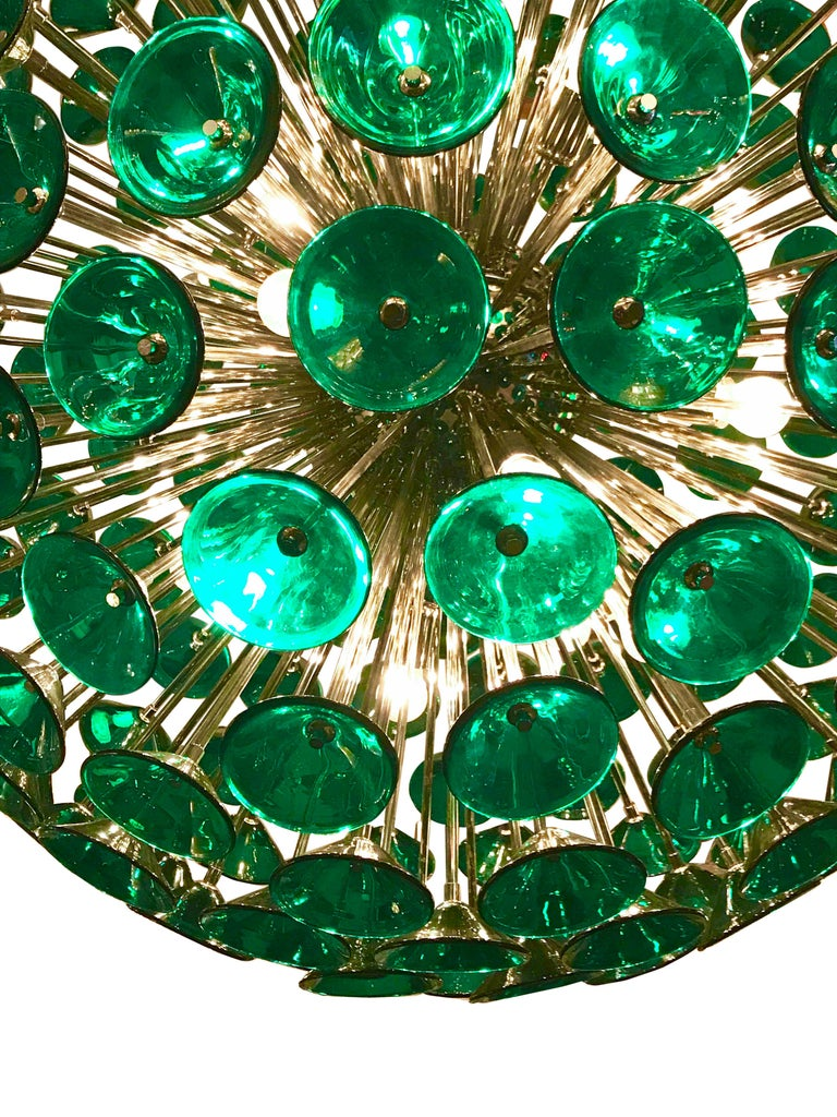Italian Green Murano Trumpets Sputnik In Excellent Condition For Sale In Palm Springs, CA