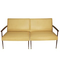 Two-Piece Midcentury Italian Cappuccino Color Loveseat