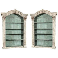 Pair of Louis XIV French Carved Painted Bookcases Made with Antique Elements