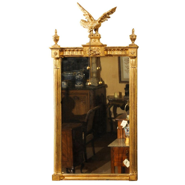 Federal Style Giltwood Borghese Wall Mirror W Eagle And