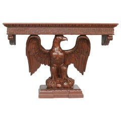 American Neoclassical Hand-Carved Eagle Console Table