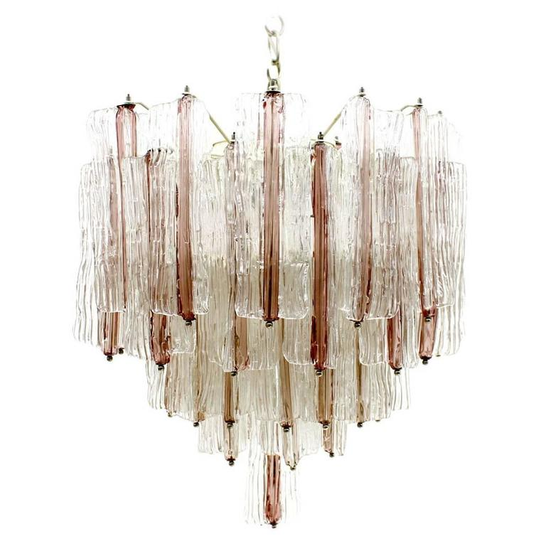 Large Pink And White Venini Murano Chandelier By Toni
