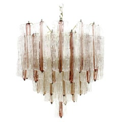 Large Pink and White Venini Murano Chandelier by Toni Zuccheri, Italy 1960s
