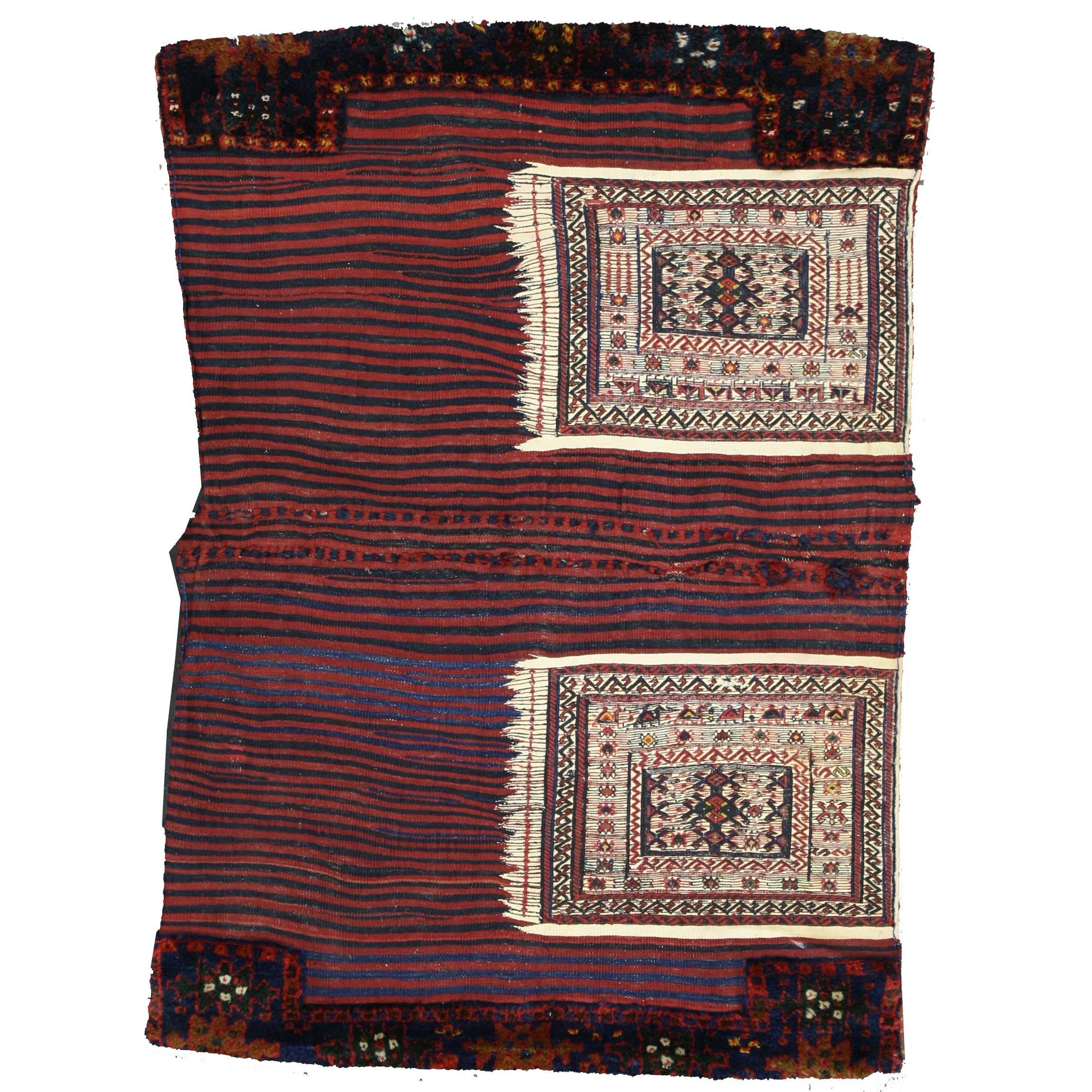 Antique Persian Soumak Saddlebag, Textile Art, Tribal Wall Hanging