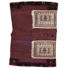 Antique Persian Soumak Saddlebag, Textile Art, Tribal Wall Hanging