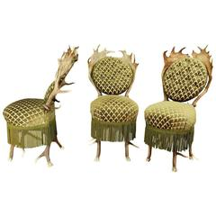 Set of Three Antler Parlor Chairs, Austria, 19th Century