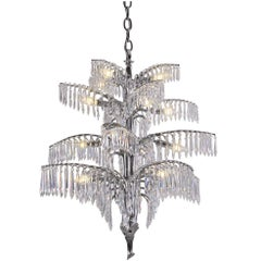 Early 20th Century Josef Hoffmann Brass Crystal Chandelier by Woka Vienna