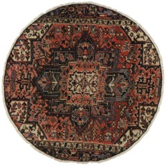 Vintage Persian Heriz Round Rug with Traditional Style