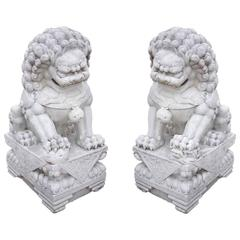 Pair of Antique White Marble Chinese Foo Dogs, circa 1850