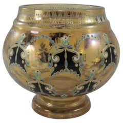 Gilt and Enameled Crystal Vase by Dyatkovo Crystal Works