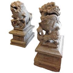 Granite Chinese Foo Dogs, circa 1850