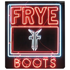 Vintage Frye Boot Company Neon Sign, 1970s