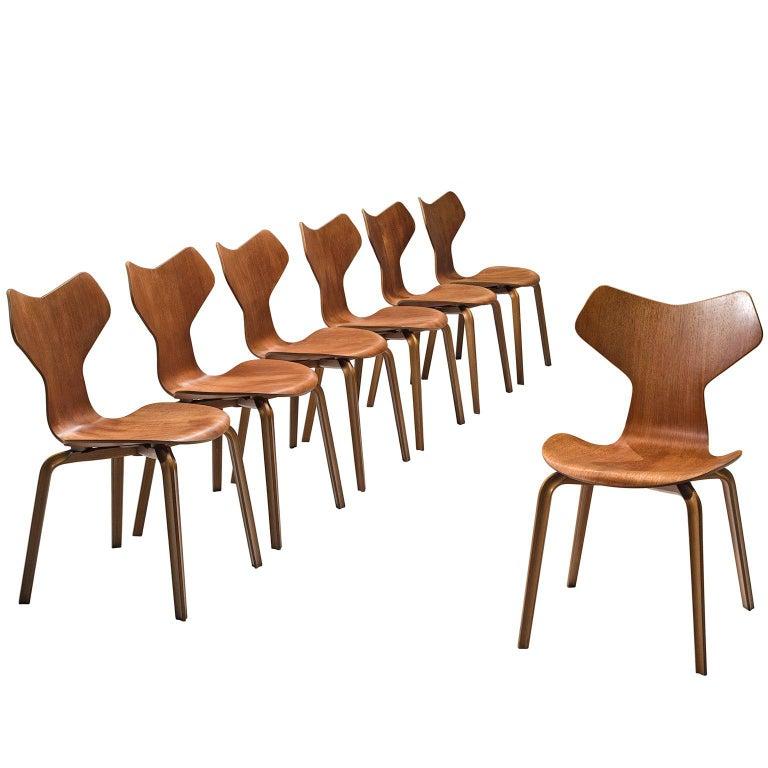 Arne Jacobsen for Fritz Hansen Set of 'Grand Prix' Dining Chairs
