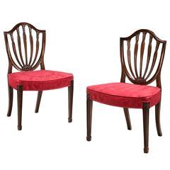 Pair of George III Mahogany Hepplewhite Chairs