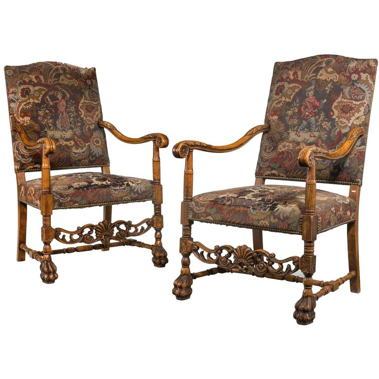 Pair Of 17th Century Style Beech Framed Chairs For Sale At