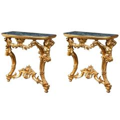 Pair of 18th Century Giltwood Pier Tables
