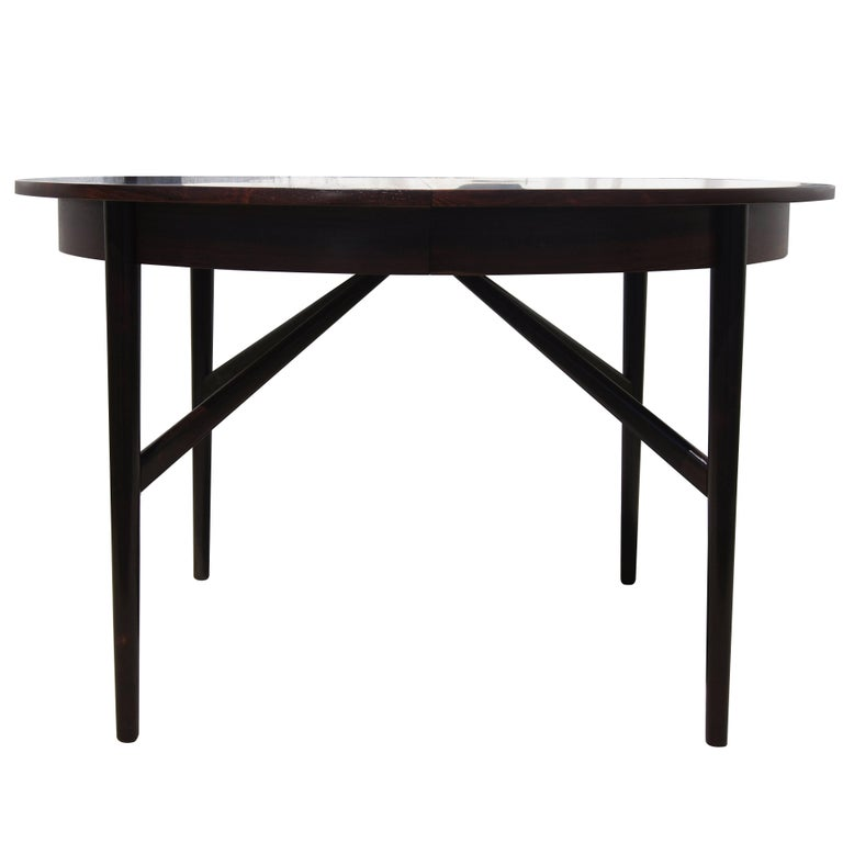 Danish Modern Round Rosewood Dining Table With Extension For