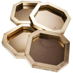 Brass and Coppered Mirror Hexagonal Trinket Tray Designed by Hartwig Bullerdieck