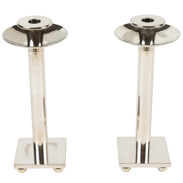 Pair of Silver Plated Candlesticks by Richard Meier for Swid Powell