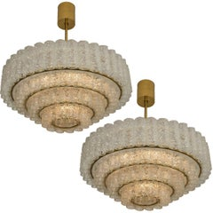 Pair of Large Chandeliers, Murano Glass Chandeliers by Doria, 1960s