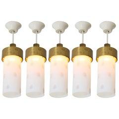 Set of Five Italian Mid-Century Modern Pendant Lights, 1960s