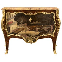 French 19th Century Louis XV Style Wood and Marble Commode Attributed to Dasson