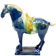Blue Chinese Pottery Horse