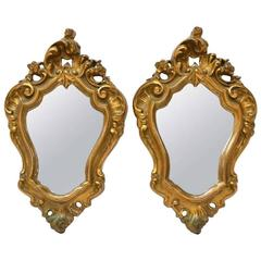 Early 20th Century Pair of Italian Louis XV Style Giltwood Mirrors