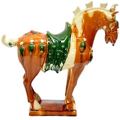 Caramel Chinese Pottery Horse with Ruby Rosette