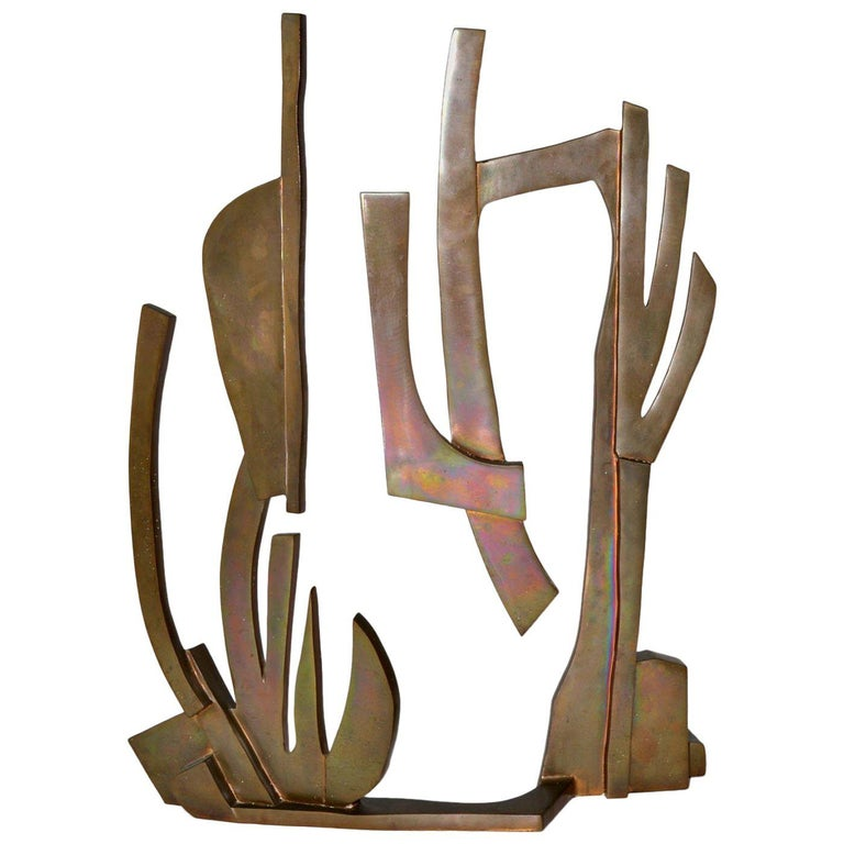 Large Modern Abstract Bronze Sculpture by Oded Halahmy, New York, 1977