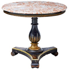 19th Century and Later Ebonized Marble-Top Center Table