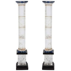 Pair of Rock Crystal and Lapis Column Obelisks