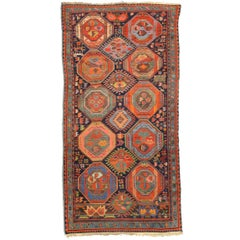 19th Century Antique Wool Rug, Caucasus, Geometric Design, circa 1890