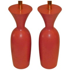 1970s Coral Painted Oak Urn Form Table Lamps